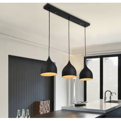 Modern Linear Multi-light Pendant with Black/White Teardrop Shade .