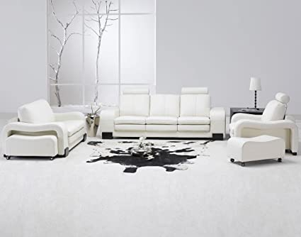 Amazon.com: Modern 5 Pcs White Leather Living Room Set: Kitchen .