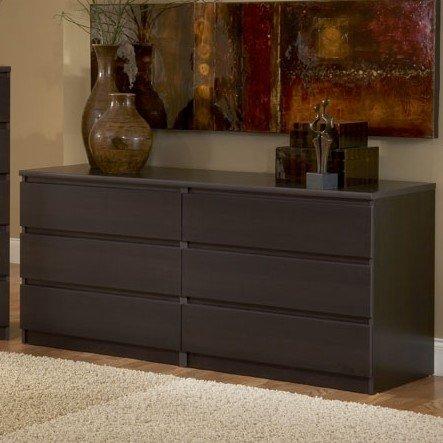 Modern Danish 6-drawer Long Dresser Brown Espresso Chocolate .