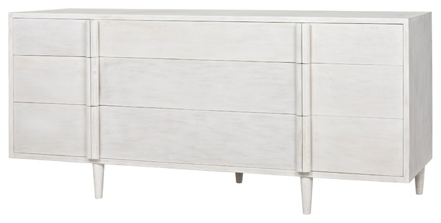 "72"" Long Dresser Solid Mahogany Wood 9 Drawers White Wash Modern ."