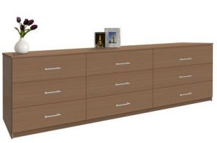 Modern 9 Drawer Triple Dresser - 8 Feet Long | Contempo Spa