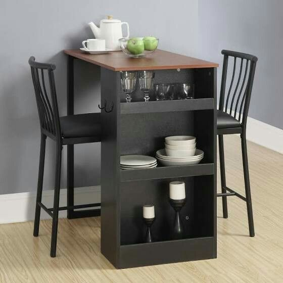 Built-in storage with 3 stationary shelves.Set includes: 1 table .