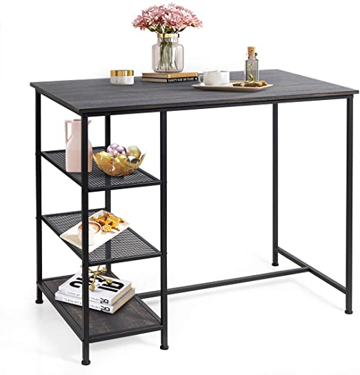 Amazon.com: COSTWAY Counter Height Pub Table, Modern Bar Table .