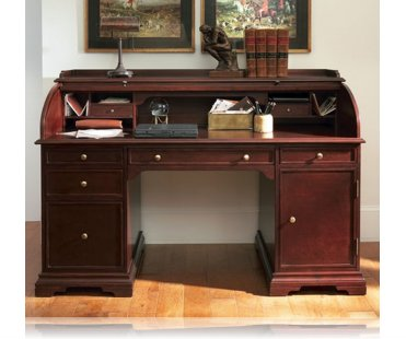 Cherry finish wood modern contemporary styling roll top desk with .