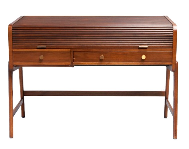Sligh-Lowry Mid-century Modern Roll-Top Walnut Desk-NYShowpla