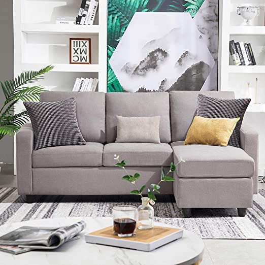 Amazon.com: HONBAY Convertible Sectional Sofa Couch Modern Linen .