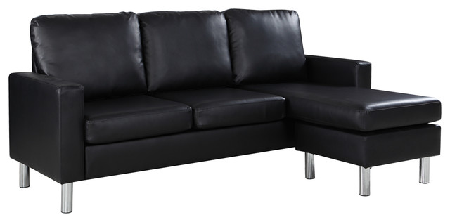 Modern Bonded Leather Sectional Sofa, Small Space Configurable .