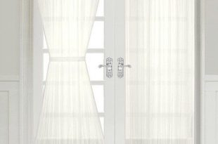 Semi Sheer French Door Curtain Panel with Tieback - Assorted .