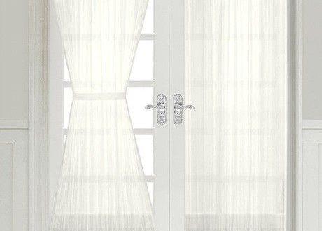 Semi Sheer French Door Curtain Panel with Tieback - Assorted .