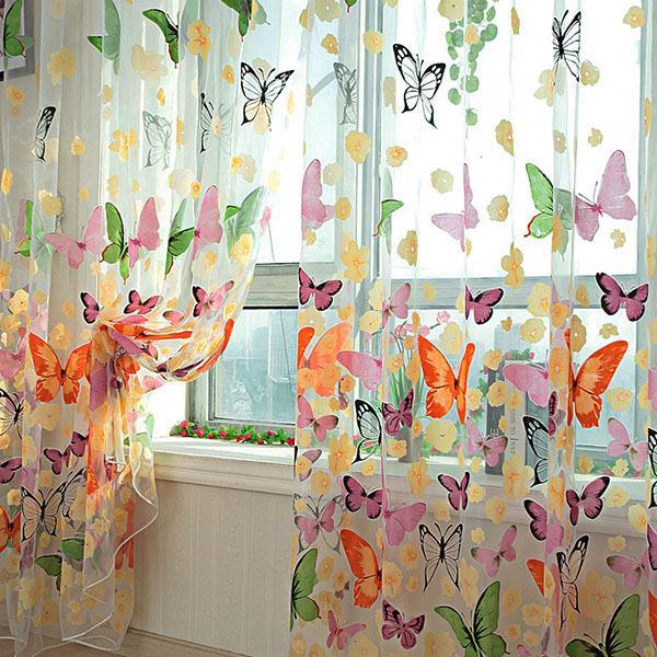 2020 Butterfly Sheer Curtain Summer Window Door Panel Curtain Room .