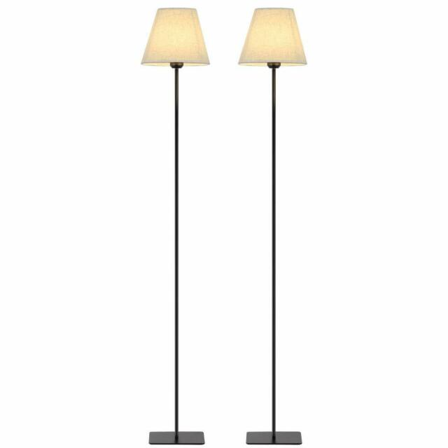 2 Set Modern Tall Floor Lights with Fabric Shade, Reading Standing .