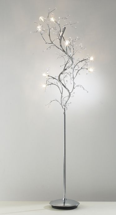 Modern Tree Floor Lamp in Chrome with Crystal Decoration - Haysom .