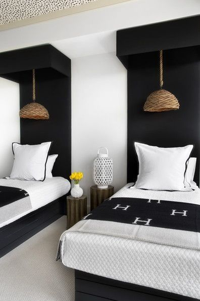 Modern black & white twin bedroom hermes throw blanket straw cane .