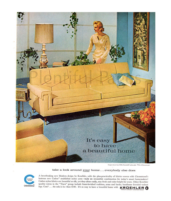 1962 Kroehler Furniture Vintage Ad, 1960's Living Room, Mid .