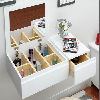 wall mounted white color modern wooden dressing table with mirror .