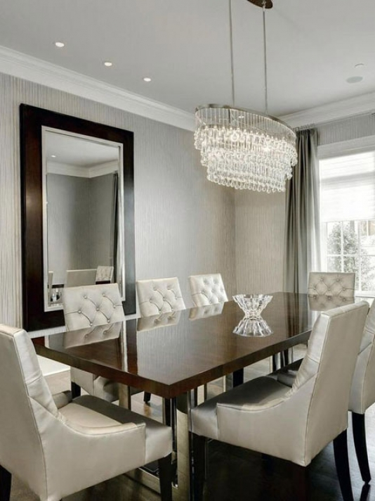 Contemporary Dining Room Gray Textured Wallpaper Formal Ideas .