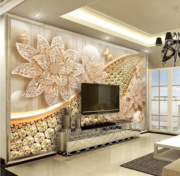 Modern Wallpaper For Living Room European Jewelry 3D Background .
