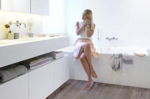 Bathroom ft Riviera - Silver Grey waterproof laminate flooring by .