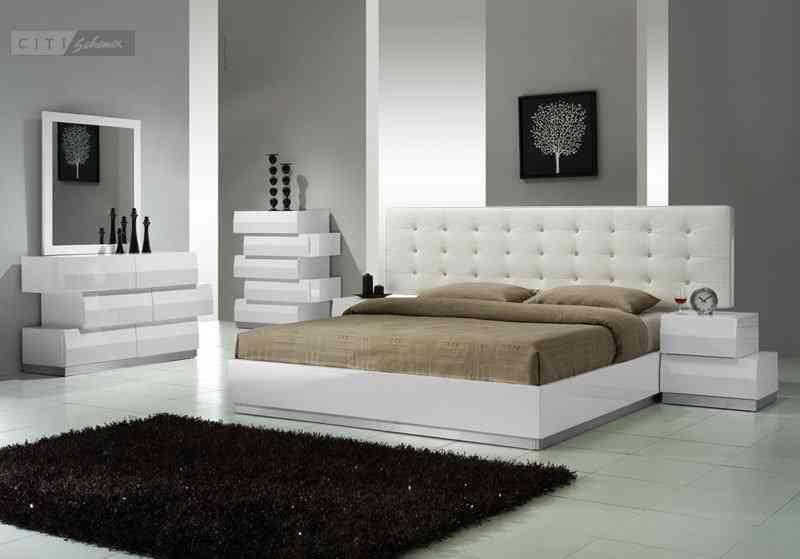 Modern White Bedroom Set | Modern bedroom set, Platform bedroom .