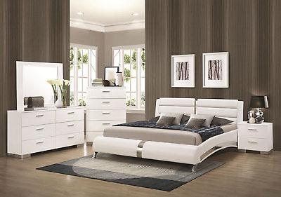 STANTON-Ultra Modern 5pcs Glossy White Queen Size Platform Bedroom .