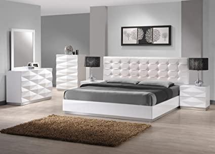 Amazon.com: J&M Furniture Verona Modern White Lacquer & Leather .
