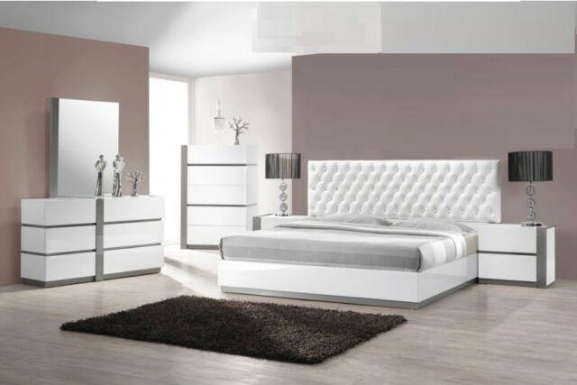 Modern 4Pc Bedroom Set East. King Size Seville Bed Furniture White .