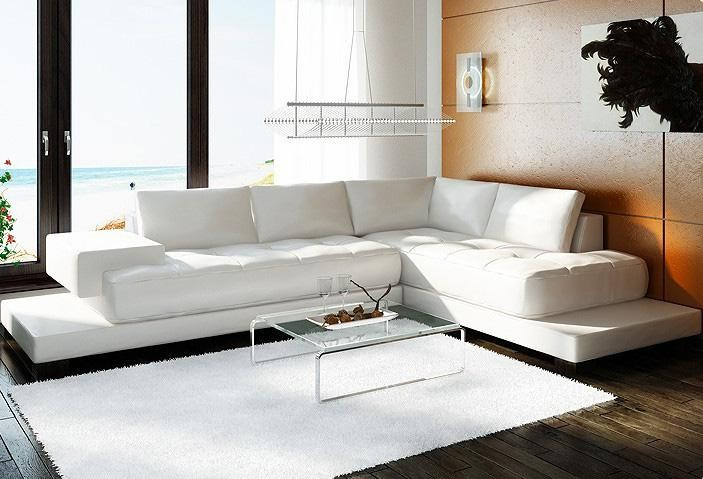 2226 Modern White Leather Sectional So