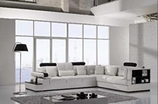 Amazon.com: Vig Furniture T117 Modern White Leather Sectional Sofa .