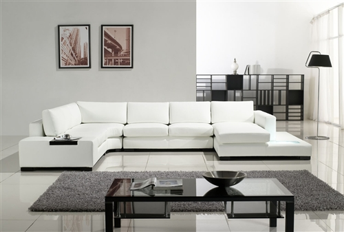 Modern White Bonded Leather Sectional Sofa TOS-LF-2029-