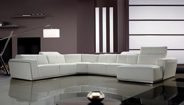 Contemporary White Leather Sectional Sofa with Retractable .