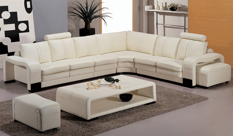 Modern White Leather Sectional Set TOS-FY560-3-