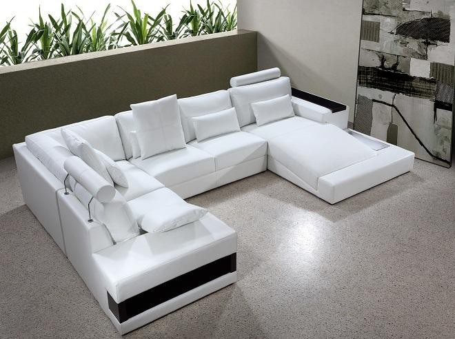 Vig Furniture Diamond Modern White Leather Sectional Sofa with .
