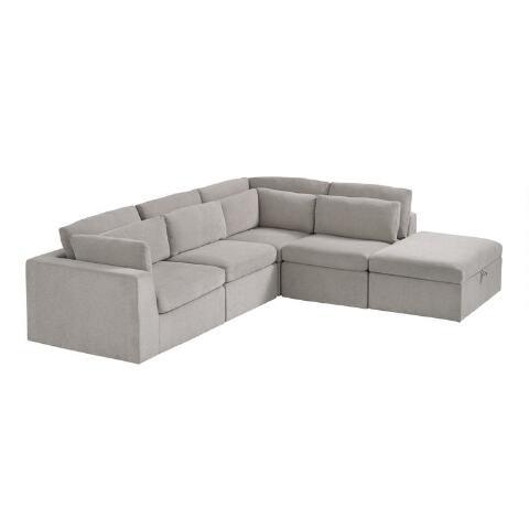 Emmett 5 Piece Square Modular Sectional Sofa | World Mark