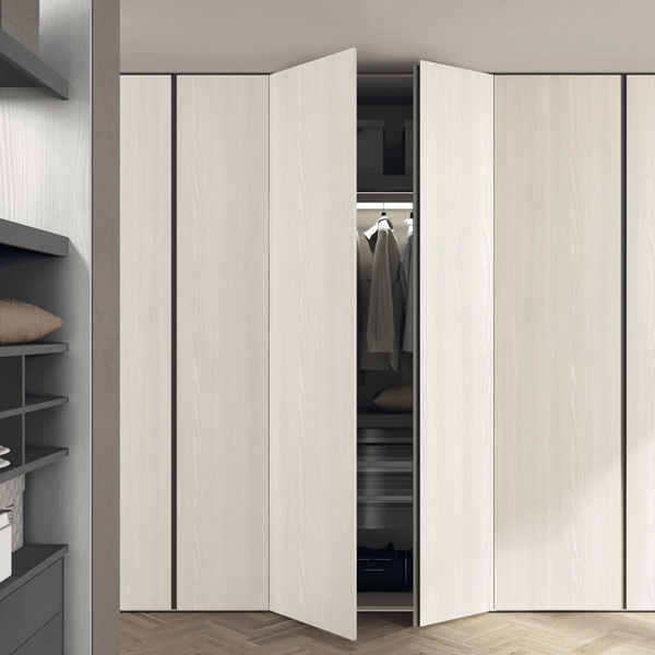 Modular wardrobe / contemporary / melamine / with swing doors .