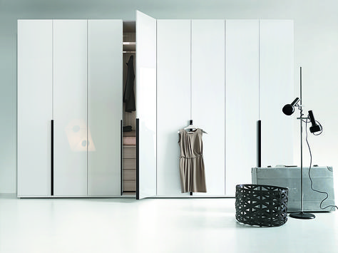 Lema's Flago is a modular wardrobe, shown here with hinged doors .