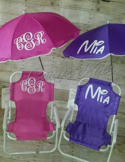 Toddler Childrens Beach Chair and Umbrella Monogrammed .