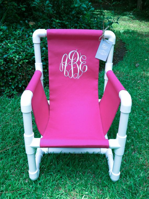 Monogrammed PVC Toddler Chair Canvas Cover by EmmabellasDesigns .