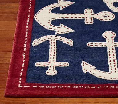 Anchor Rug | Nautical rugs, Nautical nursery, Pottery ba