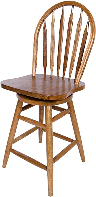 Amazon.com: AW Furniture Solid Oak Windsor Back Swivel Bar Stool .