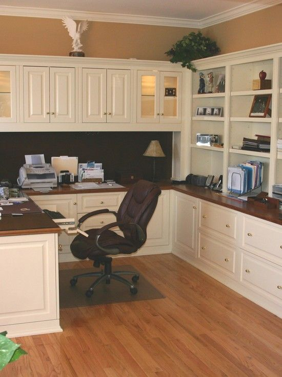 Home Office cabinets - The color combo of dark wood and white .