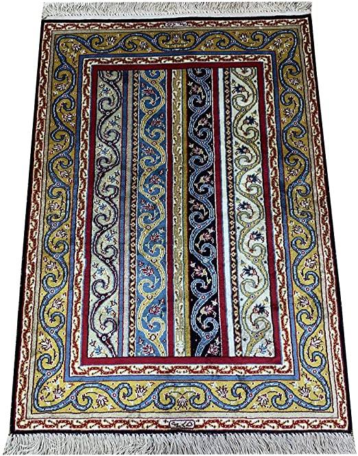 Amazon.com: Yilong Carpet Vintage Stripe Design Silk Handmade Rugs .