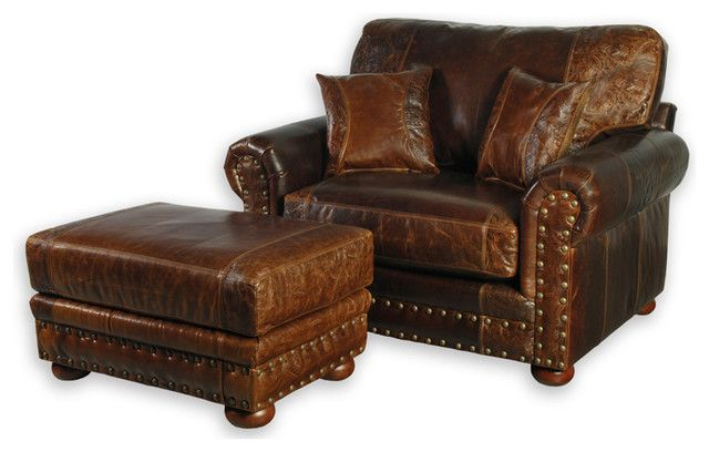 Oversized Leather Chair With Ottoman | Chair | Leather club chairs .