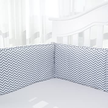 Amazon.com : TILLYOU Cotton Collection Baby Safe Crib Bumper Pads .