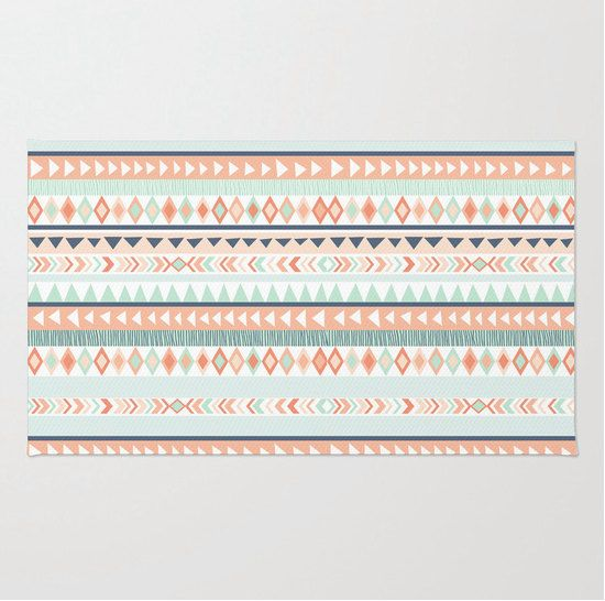 Mint and Coral Tribal Pattern Plush Rug, Nursery Rug, Girls Room .