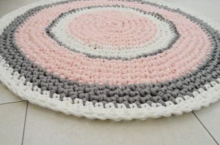 Crochet rug round rug nursery girl rug bath mat by SweetnCozy .
