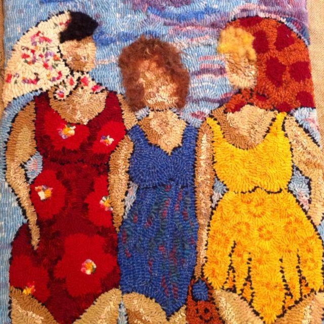 Three girls at the beach. A Deanne Fitzpatrick design. | Rug .