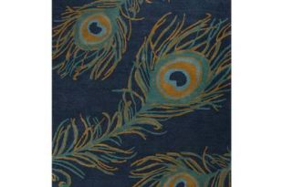 Modern Peacock Feather Print Blue Wool and Viscose Area Rug - Blue .