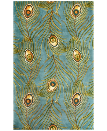 Kas Catalina Peacock Feathers 5' x 8' Area Rug | Hand tufted rugs .