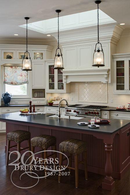 pendant lights over the island, huge skylight | Elegant kitchens .