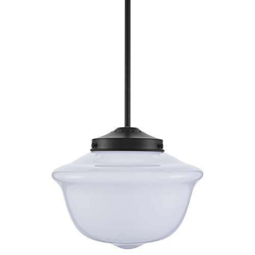 Lavagna Vintage Pendant Light Fixture | Black Milk Glass Pendant .